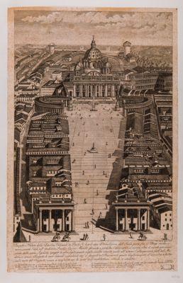 Prospetto e veduta della Basilica Vaticana da ponte Sant'Angelo