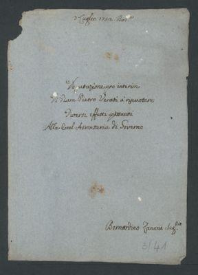 """""""Deputazione pro interim di Giam Pietro Verati a riscuotere diversi effetti spettanti alla eccelentissima Assunteria di Governo"""", 1752 lug. 3"""