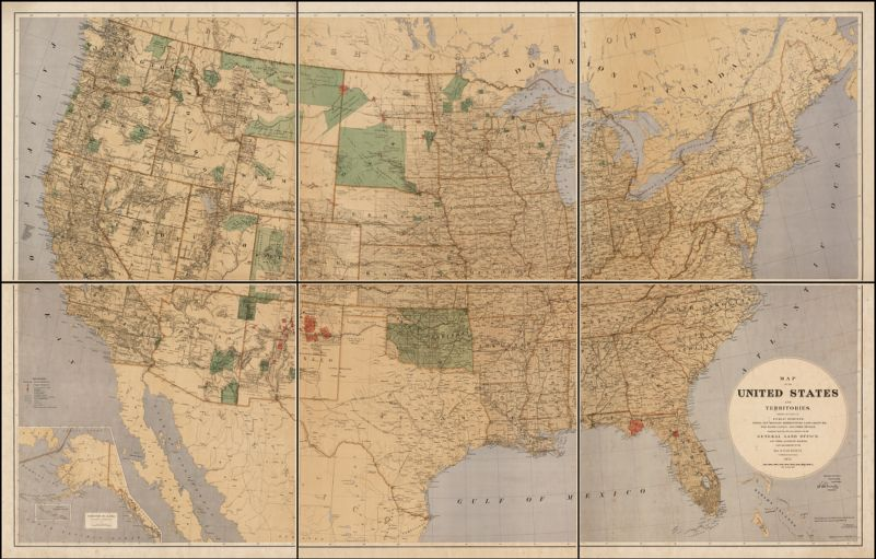 Map of the United States and Territories. Showing The Extent of Public Surveys, Indian and Military Reservations, Land Grant RR, Rail Roads, Canals, and other Details. Compiled From the Official Surveys of the General Land Office . . S.S. Burdett . . 1875