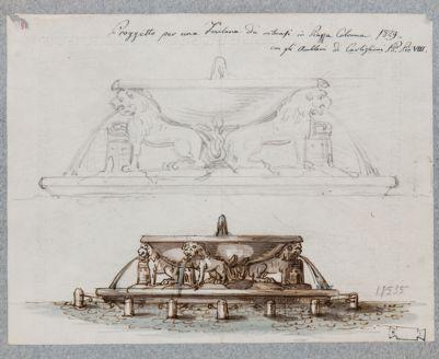 Piazza Colonna, progetto di fontana