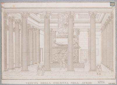 Foro Traiano, il cortile delle biblioteche ricostruito