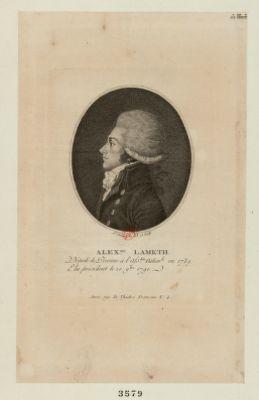 Alex.dre Lameth député de Péronne à l'Ass.blé nation.le en 1789 elu président le 20 9.bre <em>1790</em> : [estampe]