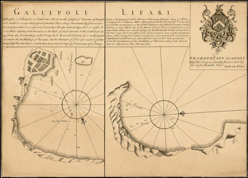 [2 maps on 1 sheet:] Gallipoli [and] Lipari [Italy]