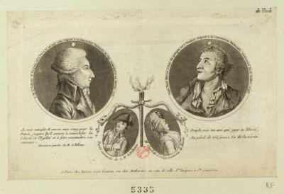 L.M. le Pelletier St Fargeau Jean Paul Marat, l'ami du peuple... ; Paris, assassin de L.M. le Pelletier ; M. Charlotte Corday, assassin de Marat : [estampe]