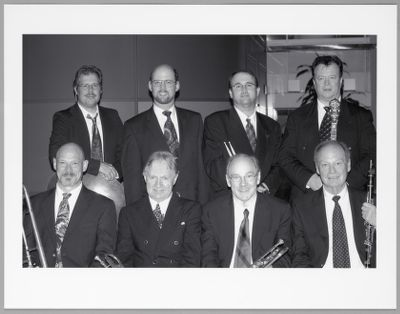 SFTJF band: Tom Barttlet, Ray Cadd, Leon Oakley, Marty Eggers, Jim Cullum, Clint Baker, John Gill, William Carter