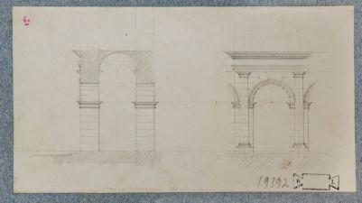 Circo Massimo, prospetto e sezione di parte del portico, ricostruzione