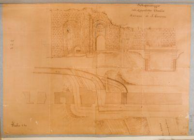 Acquedotto dell'Acqua Claudia al punto ove fu costruito il sottopassaggio per la Via Militare