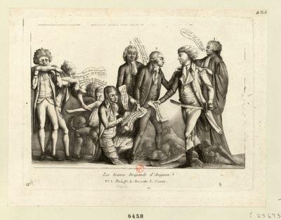 Les  Braves brigands d'Avignon n.o 1 Ra...bt [Rabaut de Saint Etienne] 2 Bo...che [Bouche] 3. C...us [Camus] : [estampe]