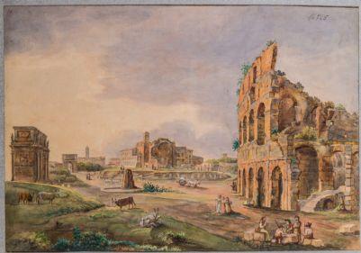Tempio di Venere e Roma, veduta della valle tra l'arco di Costantino e il Colosseo