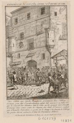 Événement du 30 juin 1789 entre 7 & 8 heures du soir Onze soldats aux Gardes Françaises, prisonniers dans l'Abbaye S.t Germain, pour fait d'insubordination... : [estampe]