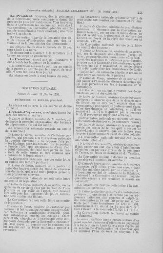 Tome 58 : Du 29 janvier au 18 février 1793 - page 445