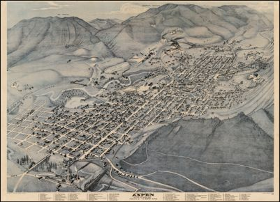 Bird's Eye View of Aspen Pitkin Co. Colo. 1893 Published By The Apen Times