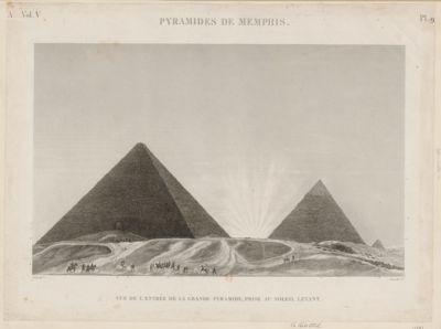 Pyramides de Memphis vue de l'entrée de la grande pyramide, prise au soleil levant : [estampe]