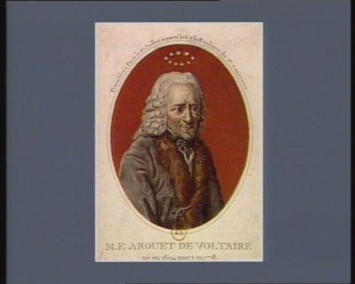 M.F. Arouet de Voltaire né en 1694 mort en 1778 : transféré à Paris le 10 juillet et porté le 11 à la Basilique Ste Geneviève : [estampe]