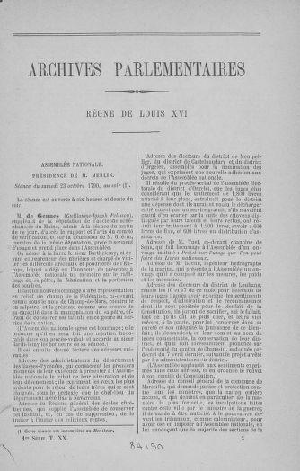 Tome 20 : Du 23 octobre au 26 novembre 1790 - page 1