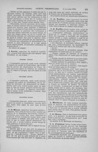 Tome 20 : Du 23 octobre au 26 novembre 1790 - page 275