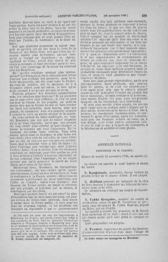Tome 20 : Du 23 octobre au 26 novembre 1790 - page 459