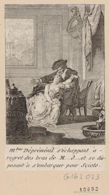 M.d.me Dépréménil s'échappant à regret des bras de M... D..., et se disposant à s'embarquer pour Scioto [estampe]