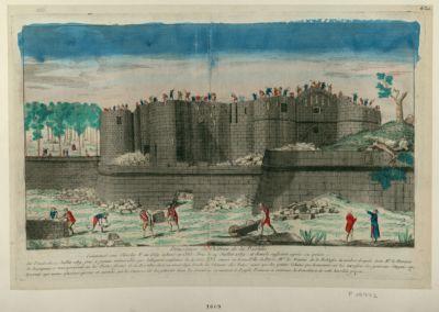 Démolition du château de la Bastille commencé sous Charles <em>V</em> en 1369 achevé en 1383 pris le 14 juillet 1789 et démoli aussitot après sa prise. Le vendredi 17 juillet 1789 jour à jamais mémorable... : [estampe]