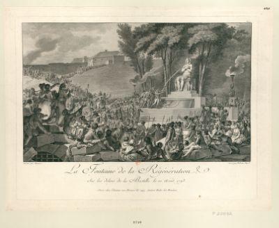 La  Fontaine de la régénération, sur les débris de la Bastille, le 10 août 1793 [estampe]