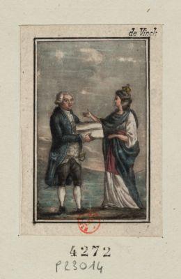 [Louis seize reçoit la <em>Constitution</em> <em>de</em> 1791 des mains d'une figure allégorique <em>de</em> la France] [estampe]