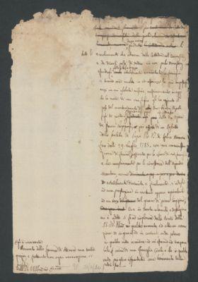 Minuta di lettera di Paolo Veratti agli amministratori della pia Opera de Vergognosi, s.d.