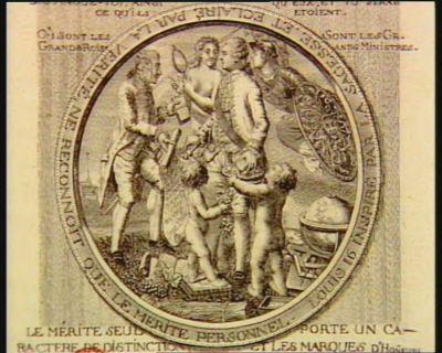 Louis 16 inspiré par la Sagesse et eclairé par la Verité, en [sic] reconnoit que le merite personnel le merite seul porte un caractere de distinction et les marques d'hon[n]eurs ne doivent que l'indiquer... : [estampe]