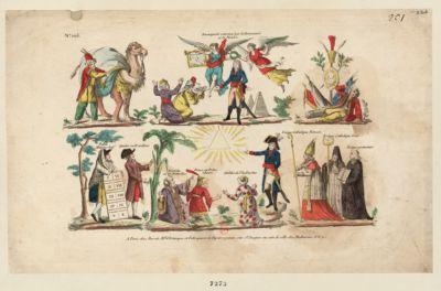 Buonaparte couronné par la Renommée et la Victoire [Bonaparte reconciliant les ministres des principaux cultes] : [estampe]