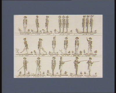 Position du soldat A droite ; A gauche ; Par file à droite ; Par file à gauche ; Le pas d'Eole ; Le pas oblique ; Portez...... armes ; Arme au bras ; Reposez vous..... sur vos armes ; Inspection..... armes ; L'arme sous le bras gauche ; La bayonnette au canon ; Chargez..... armes ; Prenez la cartouche ; Déchirez la cartouche : [estampe]