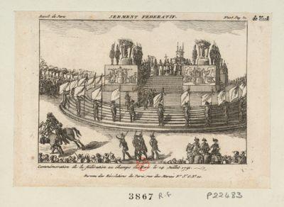 Serment fédératif commémoration <em>de</em> <em>la</em> fédération <em>au</em> <em>Champs</em> <em>de</em> <em>Mars</em> le 14 juillet 1791 : [estampe]