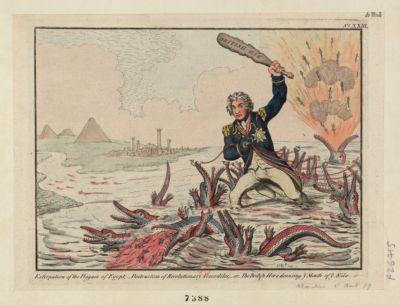 Extirpation of <em>the</em> plagues of Egypt ; destruction of revolutionary crocodiles ; - or - <em>the</em> British hero cleansing ye mouth of ye Nile [estampe]