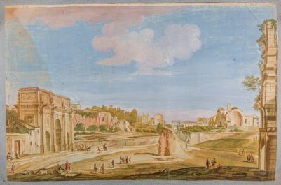 Veduta degli archi di Costantino e di Tito e della meta sudante