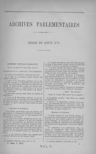 Tome 44 : Du 22 mai au 8 juin 1792 - page ..
