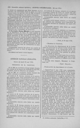 Tome 44 : Du 22 mai au 8 juin 1792 - page 172