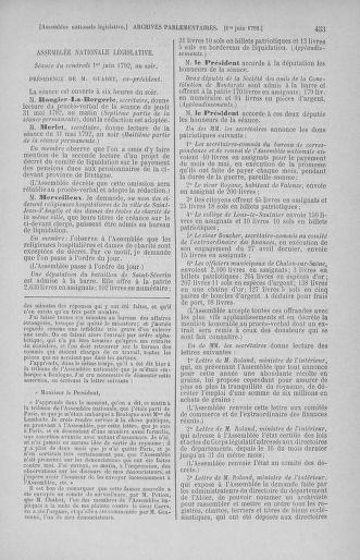 Tome 44 : Du 22 mai au 8 juin 1792 - page 453