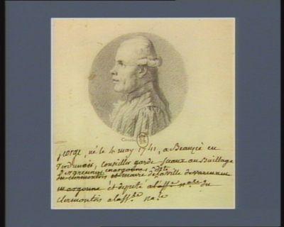 George né le 4 mai 1741 à Beauzée en Verdunais conseiller garde sceaux au baillage de Varennes en Argonne, maire de ladite ville et député du Clermontois à l'Ass.ée na.le : [dessin]