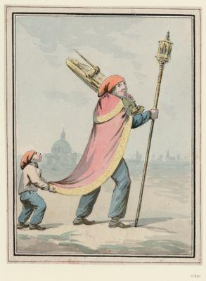 [Homme chargé d'une statue de sainte et d'un bâton de confrérie] [dessin]
