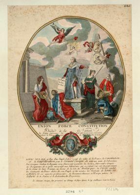 Union force constitution dédié à la nation. La nation c'est vous ; la loi c'est encore vous ; c'est votre volonté ; le Roi, c'est le gardien de la loi : Louis XVI, roi et père d'un peuple libre reçoit des mains de la France, la constitution et la Confédération, pour le serment civique, elle tient une main de l'abondance... : [estampe]