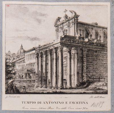 Tempio di Antonino e Faustina, prospetto di scorcio sul Foro e fiancata verso levante