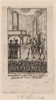 Un visiteur tient a droite le patient et lexorte, en lui presentant le crucifix, tandis que le confesseur à gauche lui donne labsolution [estampe]