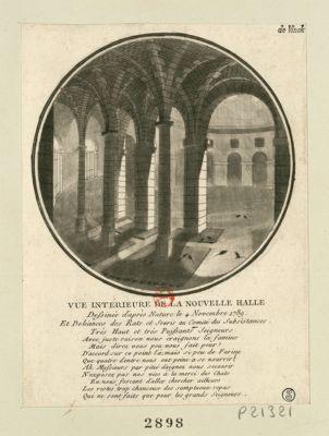 Vue intérieure de la nouvelle halle dessinée d'après nature le 4 novembre 1789 et doléances des rats et souris au Comité des subsistances... : [estampe]