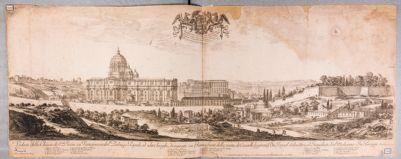 Veduta della chiesa di S. Pietro in Vaticano e del Palazzo Papale