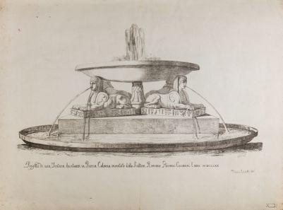Piazza Colonna, progetto di fontana dello scultore Ceccarini