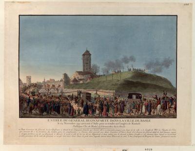 Entrée du général Buonaparte dans la ville de Basle le 24 novembre 1797 arrivant d'Italie pour se rendre au congrès de Rastadt [estampe]