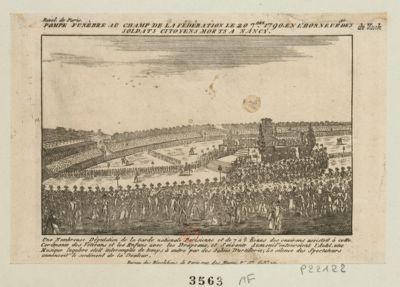 Pompe funèbre <em>au</em> <em>Champ</em> <em>de</em> <em>la</em> Fédération le 20 7.bre 1790, en l'honneur des soldats citoyens morts a Nancy une nombreuse députation <em>de</em> <em>la</em> Garde nationale parisienne et <em>de</em> 7 à 8 lieues des environs assistoit à cette <em>cerémonie</em> les vétérans et les enfans avec les drapeaux, et soixante aumoniers entouroient l'autel une musique lugubre etoit interompue <em>de</em> temps à autre par des sabres d'artilleries ; le silence des spectateur annoncoit le sentiment <em>de</em> <em>la</em> douleur : [estampe]