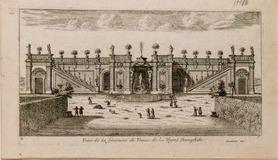 Veduta della fontana di Venere della Vigna Pamphili presso Roma dal lato dei giardini