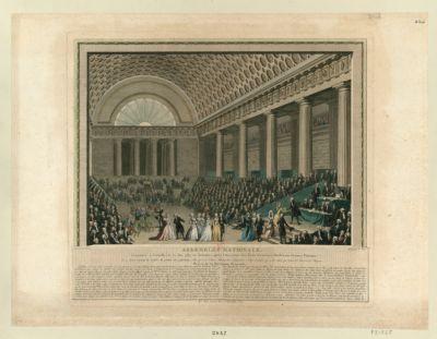 Assemblée nationale constituée à Versailles le 17 juin 1789, six semaines après l'ouverture des Etats généraux ; dédiée aux femmes patriotes... : [estampe]