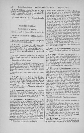 Tome 22 : Du 3 janvier au 5 février 1791 - page 168