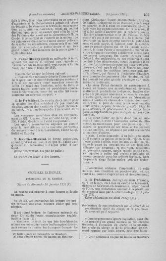 Tome 22 : Du 3 janvier au 5 février 1791 - page 279