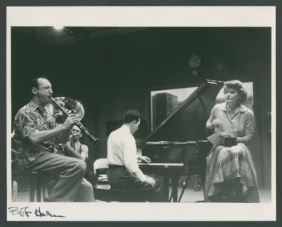 Good Time Jazz Recording session with Bob Helm, Bob Short, Wally Rose and Claire Austin